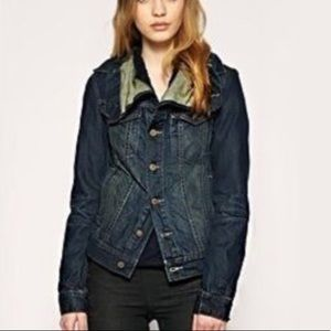 All Saints NWT Kay denim jean jacket 6 dark wash